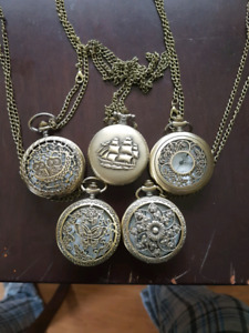 Brand new battery operated bronze pocket watches