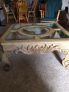 Beautiful coffee table with glass inserts