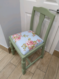 LOVELY SHABBY CHIC SOLID WOOD SAGE GREEN FLORAL CHAIR