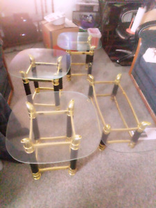 Gold & Glass 3 side tables and 1 coffee table