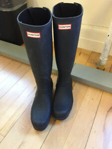Hunter Womens Back-Adjustable Rain Boots Size 11 Worn Once