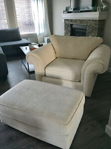 Large Cream Chair and Ottoman