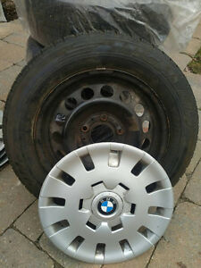 4 BMW steel rims 205/60 with Michelin snow tires & bmw hub caps