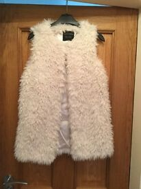 Cream faux fur / fluffy fillet / jacket size small Dorothy Perkins