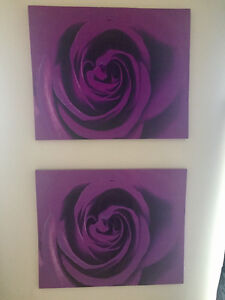 Two purple flower printed canvases