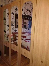 5 Door Mirrored Italian Wardrobe