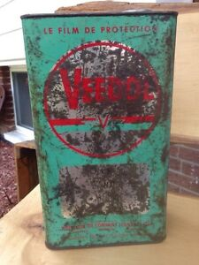 Large antique Veedol oil can, gas advertising