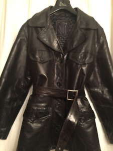 Women's 3/4 Length Brown Leather Coat