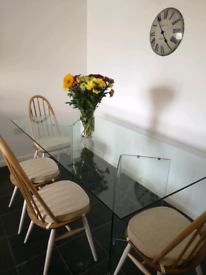 All glass dining table up to 6 seater