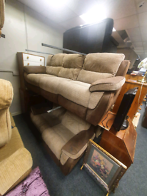 3&2 seater sofa in brown corduroy,suede and fabric £295 all reclining