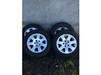 "Genuine set of Audi A4 alloys 15"" 3 Good tyres 5x112"