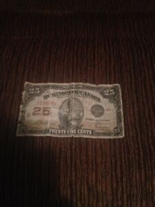 Canadian 25 cent bill