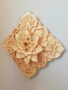 "Hand Carved wood Mandala Flower - Pure pine wood (7.5""squared)"