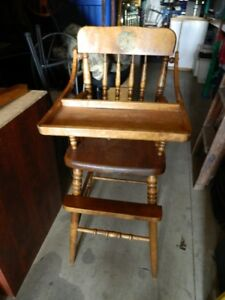 2 ANTIQUE HIGH CHAIRS