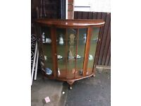 GLASS WOOD CHINA CABINET SHABBY CHIC PROJECT ** FREE DELIVERY AVAILABLE TONIGHT **