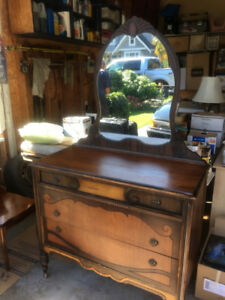 Antique Vanity  with three drawers and mirror