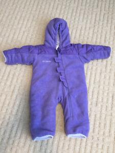 Infant Columbia fleece one piece snow suit size 12m