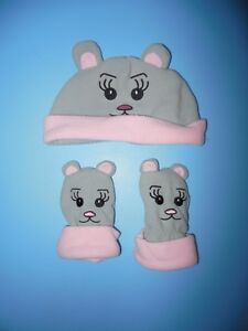 Kitty Hat and mitts size 0-24 months