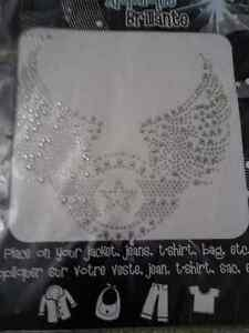 Iron on rhinestone silver tone angel wings decor fabric decor London Ontario image 2