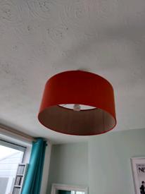 Dar silk burnt orange lampshade. 50cm