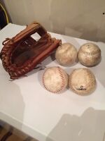 Wilson ball glove and 4 balls