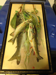 ANTIQUE VICTORIAN LITHOGRAPH TROUT FRAMED - PARKER PICKERS -