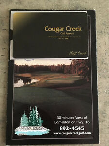 $75.00 Cougar Creek Golf Resort gift card. 18 holes of golf and