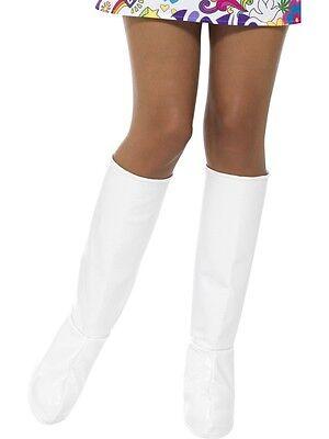 Damen 60er Jahre 1960er 70er Kostüm Stiefelabdeckung Go Stiefel Abdeckung Weiß ()