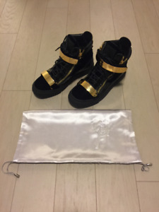 Giuseppe Zanotti Blue Velvet Gold Sneakers US 7 / EU 40