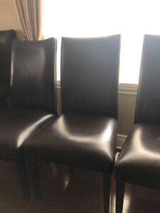 6 BROWN LEATHER KITCHEN CHAIRS
