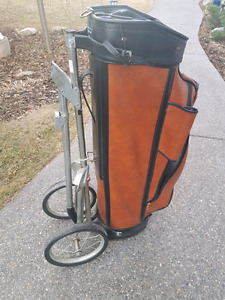Vintage Golf Bag with Pull Cart