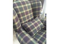 New wing back chair with plaid fabric & 2 matching footstools
