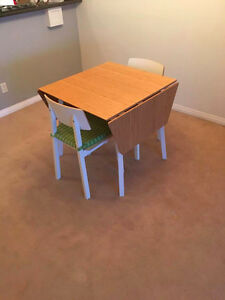 IKEA Bamboo Drop-leaf Table and 2 chairs