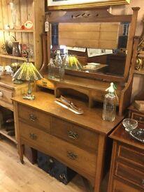 Oak Antique / Vintage Mirrored Bedroom Dresser