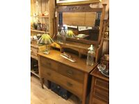Oak Antique / Vintage Mirrored Bedroom Dresser