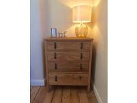 Antique wooden oak tallboy set chest of drawers bedroom wood vintage