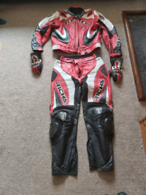 Motorbike leathers, gloves, boots and helmet