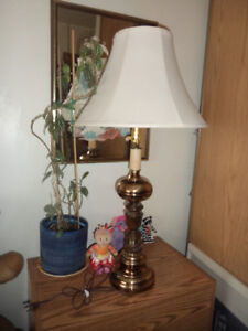 """table that needs TLC-( sanding) and 35 """"high brass Lamp..works"""