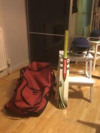Cricket bag / helmet and Grey Nichols cricket bat