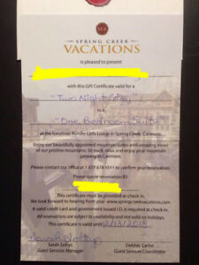 Spring Creek Vacations (Canmore AB) Gift Certificate