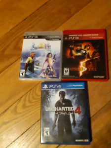 Re 5, ffx, ffx2, uncharted 2 ps3 ps4