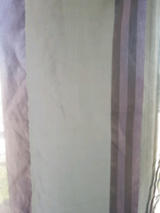 Sheer purple and gray drapes