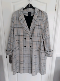 Next women's sz20 checked patterned lined coat (Peterlee)