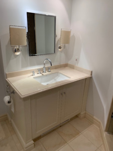 High-quality bathroom vanity with counter and faucettes