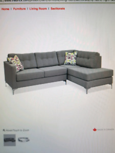 Grey Modern Sectional pull out sofa bed with ottoman for sale