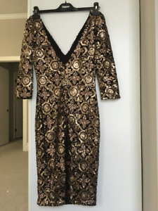 Huh Gold/Black Sequined Dress, Size Small