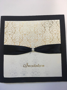 Selling Gold, Black and White Wedding Invitations NEW