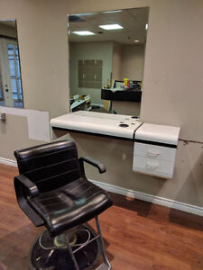 Salon station and chair