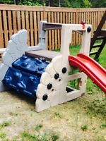 Kids outdoor play slide, structure, climb