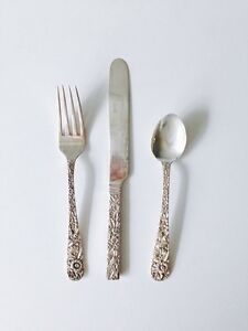 Sterling silver fork, knife and teaspoon in Repousse